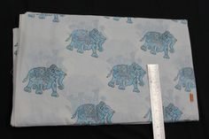 5 Yard Hand Printed Pure Cotton Voile Fabric Hand Block Print Hand Made Fabric Cotton Crafts, Fabric Wallpaper, Jaipur, Printing On Fabric, Cotton Fabric, Elephant, Dyes, Blue And White