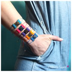 Macrame friendship bracelet, miyuki delica seed beads and dyed hematite beads. Lapis blue, turquoise, purple, neon orange and pink. © Natacha Fayard #etsy #friendship #bracelet #neon #miyuki #delica #hematite #macrame #lapis #blue #turquoise #orange #pink