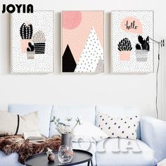 Cartoon Succulent Pot Pants Canvas Art Print Cactus Set Painting Posters Giclee Wall Art For Home Room Decor