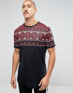 ASOS Super Longline T-Shirt With Coloured Yoke Aztec Print And Curved Hem