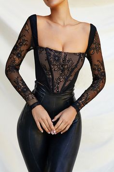Edgy Outfits, Mode Outfits, Cute Casual Outfits, Fashion Outfits, Lace Corset, Black Corset Dress, Corset Outfit, Lace Outfit, Do It Yourself Fashion
