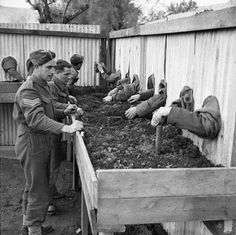 Brittish minesweepers training. Soldiers learn to take care of mines completely blindfould so they could do it in darkness. 1940
