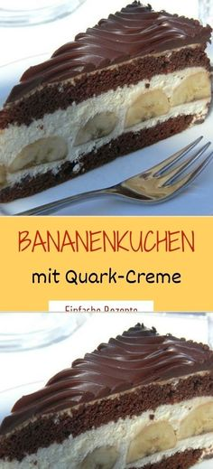 Bananenkuchen mit Quark-Creme Ingredients For the dough: 4 eggs 4 tablespoons sugar 4 tablespoon walnuts, 2 tablespoons flour 2 tablespoons powder pck. Easy Nutella Brownies, Nutella Cookies, Chocolate Covered Bananas, Frozen Chocolate, Frozen Banana Recipes, Mustard Cream Sauce, Easy Crepe Recipe, 3 Ingredient Desserts, Pudding Desserts