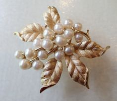 Vintage Crown Trifari Signed Textured Gold Tone and Faux Pearls Brooch. by…