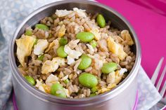 Teriyaki Fried Rice 26 hot school lunch ideas for kids to take to school in their thermos. Hot food in insulated jars are a fun alternative to sandwiches in winter. Easy Lunches For Kids, Kids Packed Lunch, Kids Meals, Family Meals, Non Sandwich Lunches, Lunch Snacks, Kid Snacks, Lunch Menu, Party Snacks
