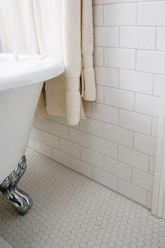 hexagon white tile bathroom