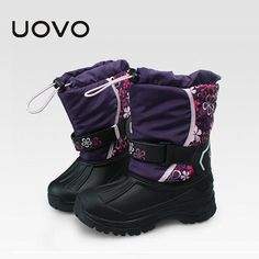 33.72$  Buy here - http://ai6kf.worlditems.win/all/product.php?id=32750922742 - Unisex Boys Girls Uovo Brand Kids Snow Boots Water Repellent Winter Rain Boots Slip Resistant Botas Ninos Black Purple Shoes