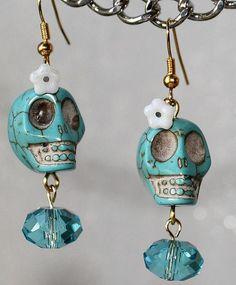 Day of the Dead Frida Kahlo Flower Head Señorita Skull Crystal Dias de los Muertos Turquoise Earrings