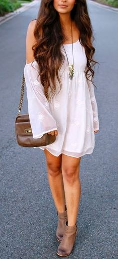 white dress and ankle boots