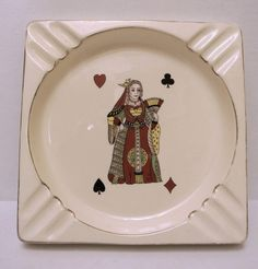Vintage Ceramic American made Queen of Hearts Playing Cards Bridge Poker Ashtray MCM Tobacciana Mancave by WallflowerAntiques on Etsy