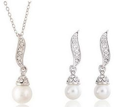 Glucky : S107 Pearl Necklace Set New Fashion Silver Jewelry Sets Nickel Free Indian Jewelry Set *** Find out more about the great product at the image link.