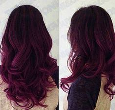 Red Purple Ombre Hair Color Idea for dark hair,new choice of dye purple hair, dark purple hair: