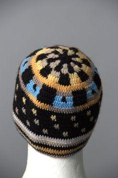 Black Mens hat Solid Short Beanie Cap crochet winter
