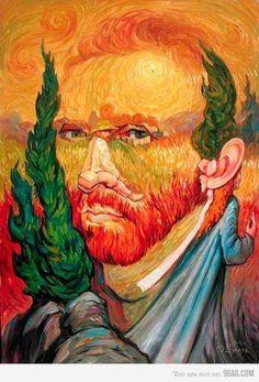 Van Gogh-ing, Going, Gone ~ Optical Illusion Oil Painting by Oleg Shuplyak) Optical Illusion Paintings, Amazing Optical Illusions, Salvador Dali, Oleg Shuplyak, Illusion Pictures, Double Image, Double Picture, Hidden Images, Illusion Art