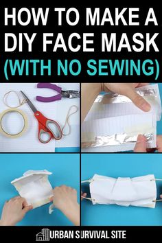 You can make a DIY face mask that fits snugly against your face with items from around home. It should only take about ten minutes. Diy Face Mask, Diy Mask, Face Masks, Large Rubber Bands, Can Band, Urban Survival, Diy Birthday, Birthday Gifts, Hole Puncher