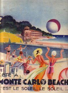 The Beach at Monte Carlo, 1932 | The Vintage Traveler http://thevintagetraveler.wordpress.com/2009/03/04/the-beach-at-monte-carlo-1932/