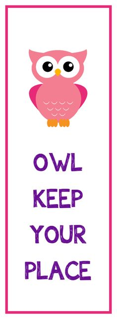 Owl Bookmark Printable (lots of color options!) Great Valentine idea