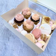 Featuring sweat treats in a gorgeous rose and peach colour palette. Our Sweet Celebrations box includes: SIGNATURE CUPCAKES Chocolate Topping, Chocolate Box, White Chocolate, Lemon Frosting, Swiss Meringue Buttercream, Peach Color Palettes, Celebration Box, Coconut Slice, Dessert Boxes