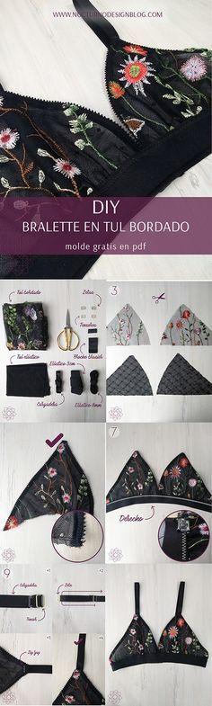 DIY Bralette of encaje. Patrón of bralette. Sewing Patterns Free, Free Sewing, Clothing Patterns, Sewing Diy, Free Pattern, Knitting Patterns, Easy Patterns, Knitting Projects, Dress Patterns