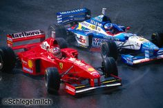 Belgium 1997 - 5th lap with Michael Schumacher (Ferrari) taking 2nd position away from Jean Alesi (Benetton-Renault) in the Belgian GP 1997 at La Source, Spa-Francorchamps