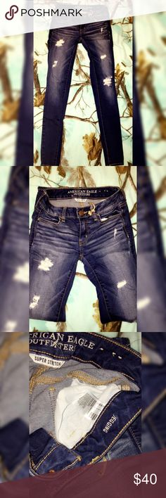 American eagle distressed supper stretch skinny Size 2 American eagle super stretch skinny jeans, dark wash , distressed , brand new without tags American Eagle Outfitters Pants Skinny