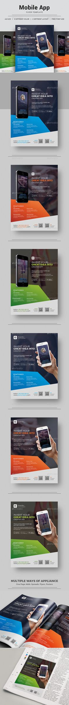 App Promotion Flyer Template PSD. Download here: https://graphicriver.net/item/app-promotion-flyer/17408425?ref=ksioks