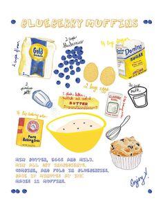Kitchen Art Print  Blueberry Muffins Recipe 8x10 by valeriejauma, $30.00