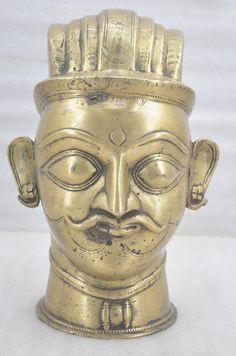 1750s Museum Quality Antique Fine Rare Engraved Brass God Shiva Head Bust Idol