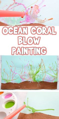 Ocean Coral Blow Painting Summer Kids Art Project is part of Art painting For Kids - I'll be showing you how to make a Ocean Coral Blow Painting, but you can use this technique to make crazy hair, animal fur, or just unique abstract art Ocean Projects, Summer Art Projects, Toddler Art Projects, Projects For Kids, Diy Projects, Unique Art Projects, Summer Camp Activities, Preschool Activities, Animal Activities For Kids