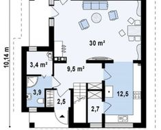Proiect-casa-cu-mansarda-134012-parter Elephant Coloring Page, Floor Plans, 1, House Styles, Fashion, Houses, Moda, Fashion Styles, Fasion
