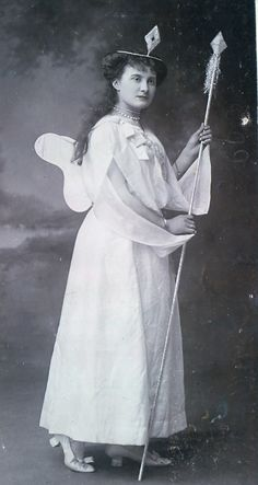 """Torquay Operatic Society (amateur), """"Iolanthe,"""" 1904 (done again only 6 years after their 1898 production and with somewhat less attention to replicating the original DOC costumes for some characters), Fanny Edwards as Celia, costume design heavily influenced by the costumes of the original DOC production and subsequent DOC tours."""