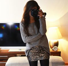 sparkly skirt and oversized sweater for the holidays