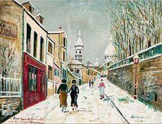 """Maurice Utrillo - """"Rue de l'Abreuvoir à Montmartre"""", 1934. Gouache on card,"""