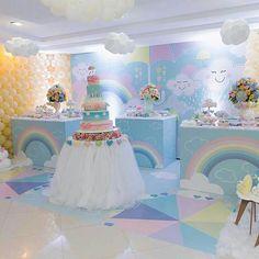 Love the white balloon clouds Unicorn Birthday Parties, Unicorn Party, Baby Birthday, First Birthday Parties, Cloud Party, Shower Party, Baby Shower Parties, Baby Shower Themes, Fiesta Baby Shower