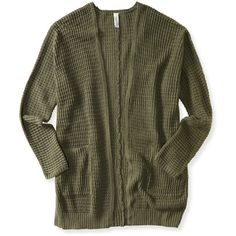 Aeropostale Waffle-Knit Open Cardigan ($24) ❤ liked on Polyvore featuring tops, cardigans, jackets, outerwear, sweaters, pebble olive, open front cardigan, open cardigan, olive green top and waffle cardigan