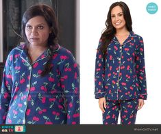 Mindy's cherry print pajamas on The Mindy Project. Outfit Details: http://wornontv.net/51715/