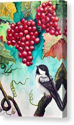Watercolor Canvas Print featuring the painting Little Bird and Grapes by Medea Ioseliani