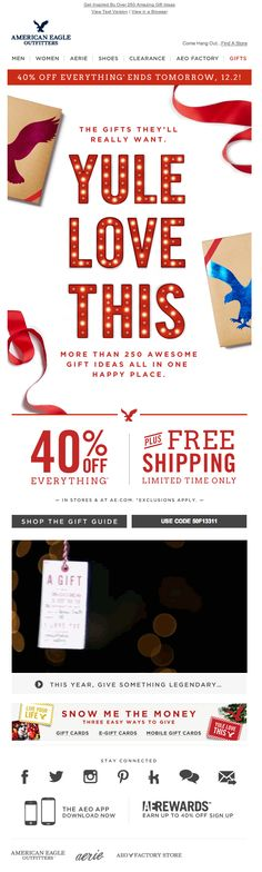 "American Eagle Outfitters included an embedded video (above ""This Year, Give Something Legendary"") in this holiday email promotion. #emailmarketing #video #retail #holidayemail"