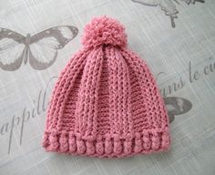 Handmade 2-3 years old girls HAT, hand knitted for baby Girl, 2-3 years old, hand-knitted coral red fancy pattern toddler hat with pom pom by ramutez on Etsy