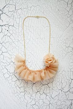 There are a million kinds of ways to do this necklace, but this one is particularly gorgeous. I'd like one in mint green! Tutorial here: http://poppychic.blogspot.com/2010/06/shabby-chic-ruffle-necklace.html