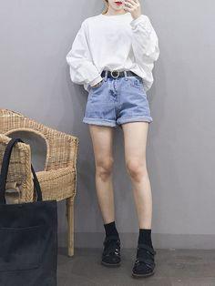 Korean fashion women t shirt fashion, korean fashion shorts, cute korean fashion, k Korean Fashion Shorts, Korean Fashion Kpop, Korean Fashion Summer, Korean Fashion Casual, Korean Fashion Trends, Ulzzang Fashion, Summer Fashion Outfits, Korea Fashion, Korean Outfits