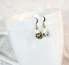 Handmade Drop Dangle Earrings, 14K Gold Filled Earwires, Vintage 1950s JAPAN Art Glass Teardrop, White Colorful Confetti, Bridesmaid Jewelry by VintageJewelryReborn, $23.00