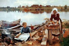 Esivanhempamme ihailivat raivattua maisemaa. Se merkitsi turvaa ja valtaa arvaamattoman luonnon yli. Maalaus: Eero Järnefelt, Pyykkiranta, 1889, Wikimedia Commons