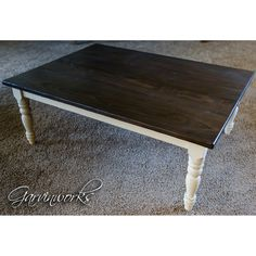 Garvinworks rustic farmhouse coffee table. Solid oak top, gently distressed. Hardwood base with handmade spindle legs, painted & distressed.