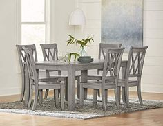 Shop Standard Furniture Vintage Grey Dining Room Set with great price, The Classy Home Furniture has the best selection of Dining Room Complete Sets to choose from Round Dining Table Sets, Grey Dining Tables, Marble Top Dining Table, Counter Height Dining Table, Solid Wood Dining Chairs, Dining Room Table, Furniture Vintage, Deck Balusters, House Ideas
