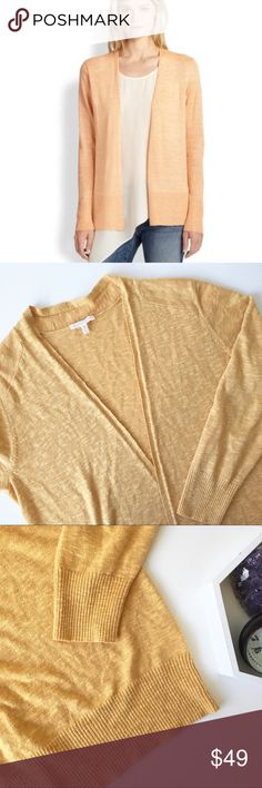 """Eileen Fisher open cardigan Beautiful mustard color open cardigan! linen blend good used condition!! Bust:21"""" Length:32"""" approx. please feel free to ask me any questions!! Offers welcome! Eileen Fisher Sweaters Cardigans"""