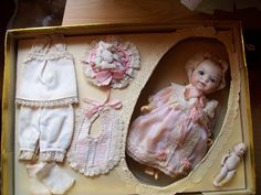 German Bisque Doll with Smaller Baby Mint in Box with Clothing | eBay