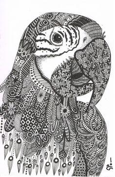 Parrot Abstract Doodle Zentangle ZenDoodle Paisley Coloring pages colouring adult detailed advanced printable Kleuren voor volwassenen coloriage pour adulte anti-stress kleurplaat voor volwassenen