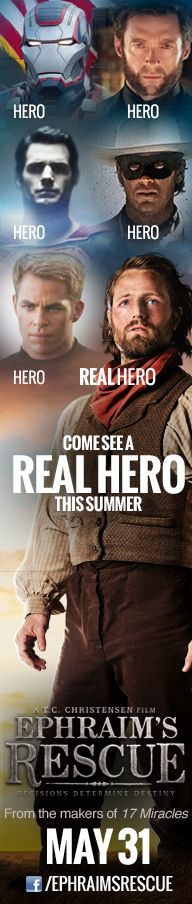 There are tons of heroic movies releasing this summer. Come see a real hero on May 31. http://www.ephraimsrescue.com