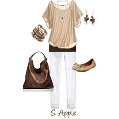 If it had a pair of pumps this would be my casual style - love the dark brown tank under the lighter brown shirt. The dark brown handbag is fab with this outfit. So summery and just flows:) Summer Outfits, Casual Outfits, Cute Outfits, Fashion Outfits, Fashion Trends, Summer Dresses, Fashionista Trends, Spring Summer Fashion, Autumn Winter Fashion